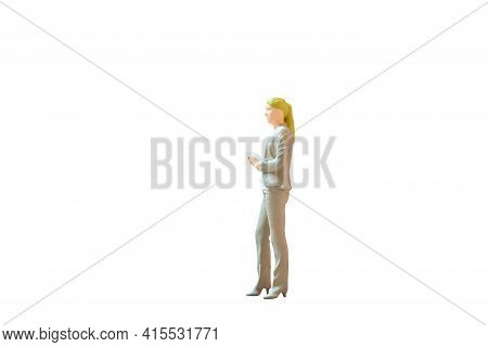 Miniature People Business Woman Standing On White Background With Clipping Path