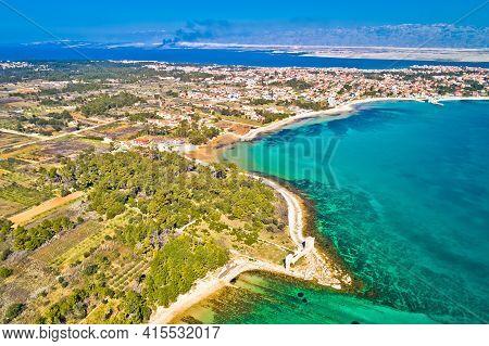 Island Of Vir Archipelago Aerial Panoramic View, Dalmatia Region Of Croatia