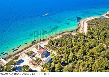 Island Of Vir Archipelago Lighthouse And Beach Aerial Panoramic View, Dalmatia Region Of Croatia