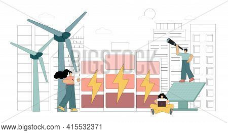 Vector. Backup Energy Storage System. Large Lithium-ion Battery Power Storage Station With Wind Turb
