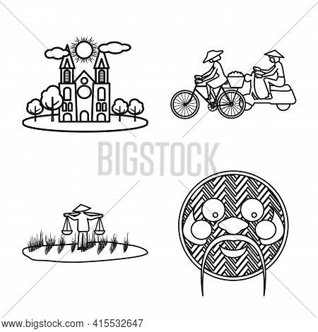 Vector Illustration Of Vietnam And Traditional Symbol. Collection Of Vietnam And Culture Stock Vecto