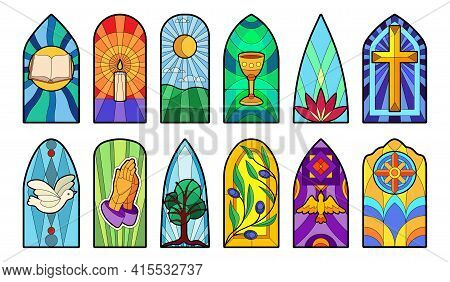 Stained Glass Vector Cartoon Icon Set . Collection Vector Illustration Window Church On White Backgr