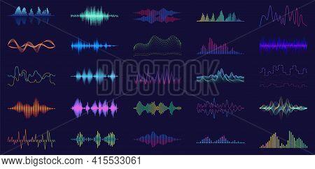 Sound Of Wave Vector Cartoon Set Icon.illustration Isolated Of Cartoon Icon Music Waveform . Vector