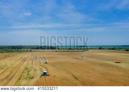 Harvesting Of Wheat In Summer. Two Harvesters Working In The Field. Combine Harvester Agricultural M