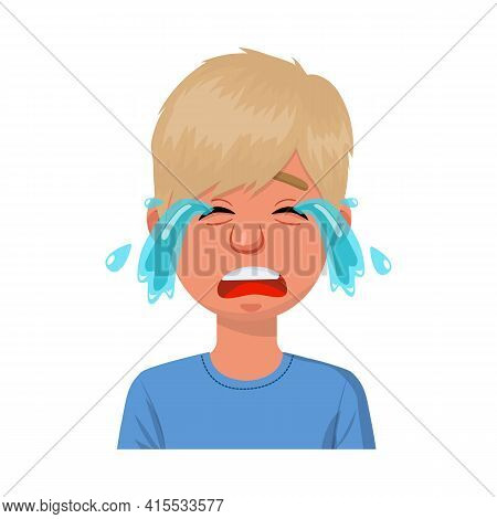 Vector Illustration Of Guy And Cry Logo. Set Of Guy And Tears Stock Vector Illustration.