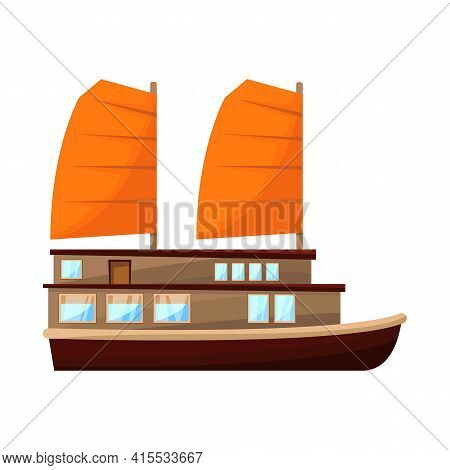 Isolated Object Of Ship And Vietnamese Icon. Set Of Ship And Boat Stock Vector Illustration.
