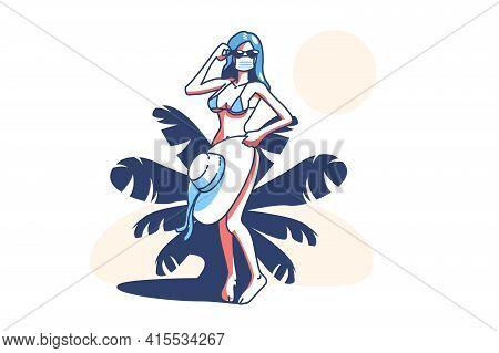 Woman On Beach Vector Illustration. Female In