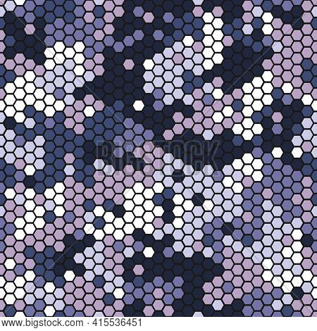 Camouflage Seamless Pattern With Violet Hexagonal Geometric Camo Ornament