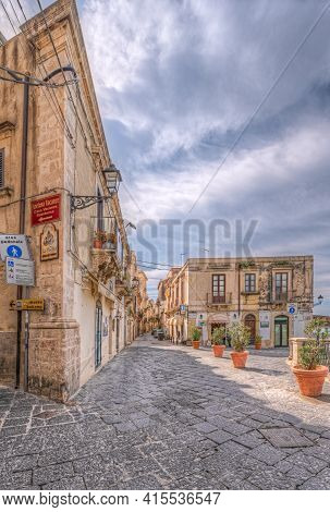 Syracuse Sicily/ Italy -april 11 2020: Aretusa Square And The Street Of Fonte Aretusa, Parallel To T