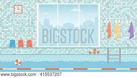 Empty Public Swimming Pool With Big Window. Indoоr Pool With Swimming Lanes And Sport Equipment. Fla