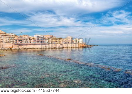 The Breathtaking Scenery Of The Ortigia Seafront In Syracuse Sicily