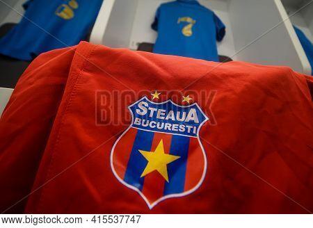 Bucharest, Romania - November 27, 2020: Steaua Bucharest Football Team Locker Room On The New Steaua