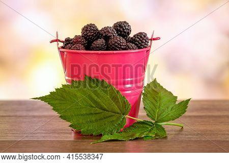 Black Raspberry Cumberland In A Decorative Bucket. Black Raspberry Berries And Green Leaves, Raspber