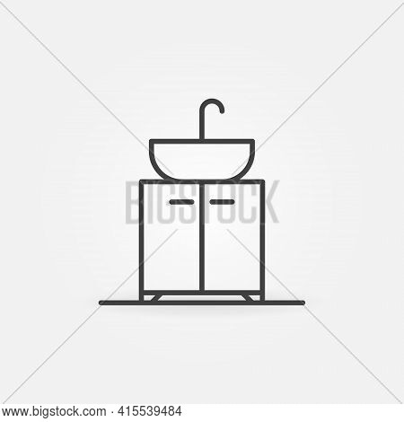 Sink On Vanity Unit Vector Thin Line Concept Icon