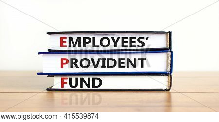 Epf, Employees Provident Fund Symbol. Books With Words 'epf, Employees Provident Fund'. Beautiful Wh