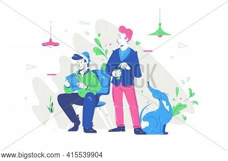 Friends With Dog In Office Vector Illustration. Man Sitting With Gadget Flat Style. Person Holding C