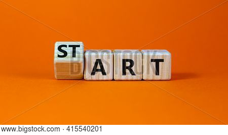 Start Art Symbol. Turned The Cube And Changed The Word 'start' To 'art'. Beautiful Orange Table, Ora