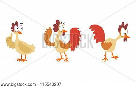 Funny Hen In Various Poses Set, Farm Bird Cartoon Character Cartoon Vector Illustration