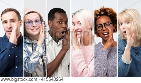 Collage Of Men And Women Covering Mouth With Hand Tells Secrets To Someone.