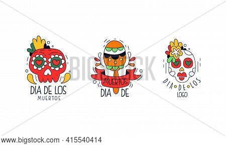 Dia De Los Muertos Logo Design Set, Mexican Day Of Dead Badges, Traditional Festival Colorful Hand D