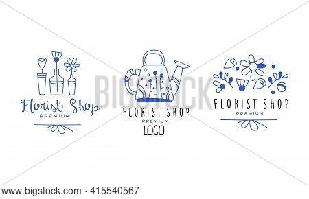 Set Of Flower Shop Premium Logo, Florist Boutique, Floral Designer Studio Hand Drawn Badges Vector I