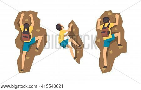 Mountaineer Climbing Mountain Set, Male Rock Climber In Protective Helmet Hiking, Extreme Sport And