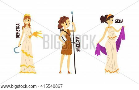 Demetra, Artemis, Gera Olympian Greek Gods Set, Ancient Greece Mythology Vector Illustration