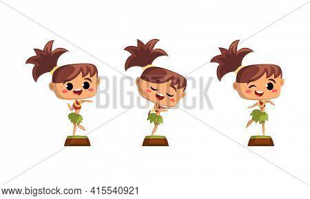 Cute Girls Hawaiian Dancers Set, Funny Child Girl In Traditional Hawaiian Costume Dancing Hula Vecto