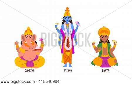 Statues Of Indian Gods Set, Ganesha, Vishnu, Suria Hinduism Godheads Vector Illustration