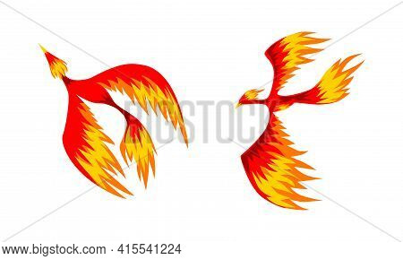Set Of Phoenix Firebirds, Mythical Fairy Tale Bird Vector Illustration On White Background