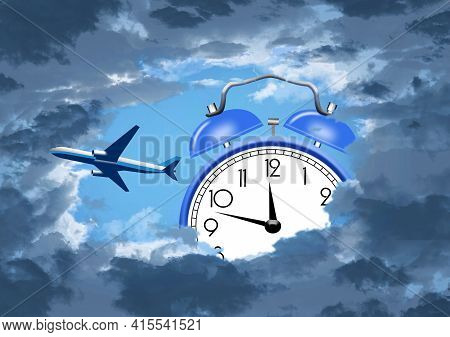 A Jet Airliner Is Seen Through An Opening In Darkening Clouds And An Alarm Clock Is Seen In The Sky