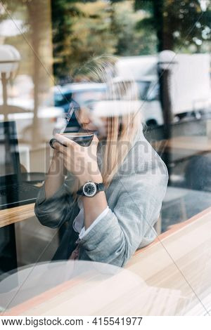 Self-employed Young Woman Working For Oneself As Freelance Or Owner Of Business. Young Freelancer Wo