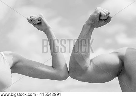 Sporty Man And Woman. Muscular Arm Vs Weak Hand. Vs, Fight Hard. Competition, Strength Comparison. R