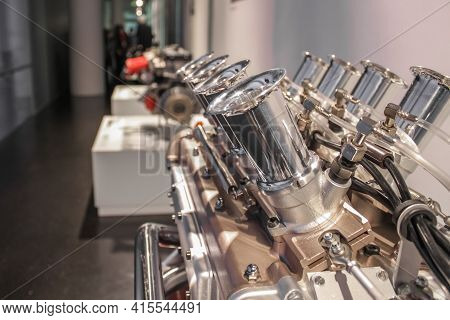 Germany, Munich - April 27, 2011: Bmw Eight-cylinder Engine In The Bmw Museum Exhibition Hall
