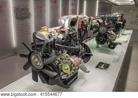 Germany, Munich - April 27, 2011: Bmw M20 Engine In The Exhibition Hall Of The Bmw Museum. Inline 6-