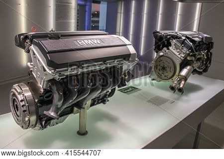 Germany, Munich - April 27, 2011: Bmw M20b20 Engine In The Exhibition Hall Of The Bmw Museum. Inline
