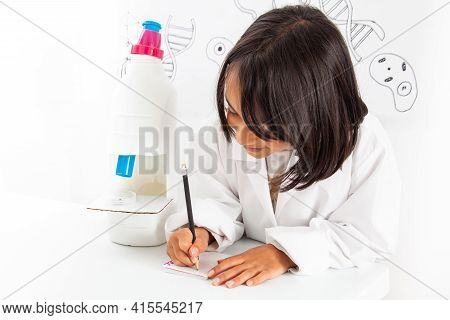 Young Girl Playing A Life Sciences Professional Role. Could Be Biologist, Doctor, Researcher. Dreami