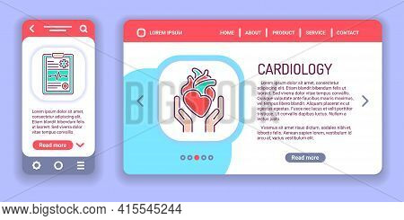 Cardiology Web Banner And Mobile App Kit. Health Care Cardiovascular System.