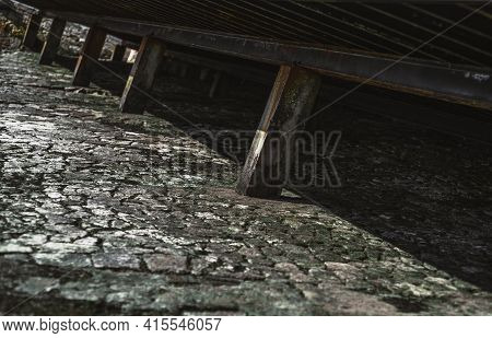 A Mossy Greenish Stone Textured Surface Under A Pier At Low Tide Covered With A Crust Of Dried Algae