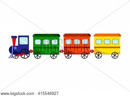 Childrens Illustration Of A Toy Train With Carriages. Vector Illustration Isolated On White Backgrou
