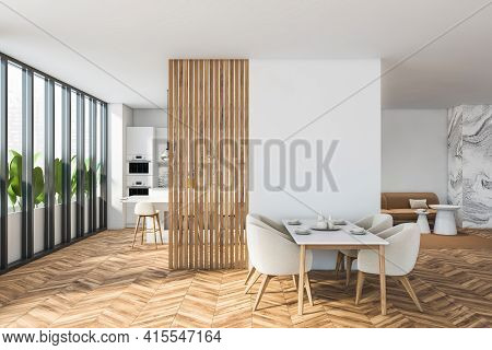 Bright Modern Dining Room Interior With Panoramic Window, White Empty Blank Wall, Dinner Table, Four