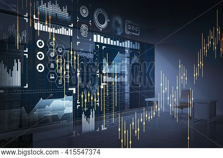 Digital Interface With Icons Of Hud Hologram Like Pie And Bar Diagram, Candlesticks. Office Workplac