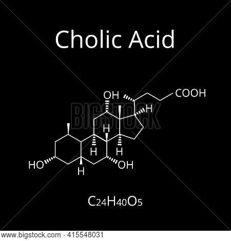Cholic Acid. Bile Acid. The Chemical Molecular Formula Is Cholic Acid. Vector Illustration On Isolat