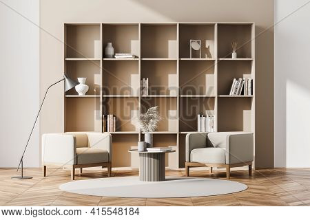 Modern Living Room Interior With Two Vintage Armchairs, Lamp And Big Bookshelf With Books And Decora