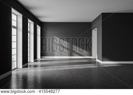 Dark Living Room Interior With Grey Concrete Floor, Empty Open Space Room With Several Windows, Sunl