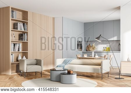 Bright Modern Kitchen Room Interior With Cupboard, Dinner Table, Empty White Poster, Bookcase, Comfo