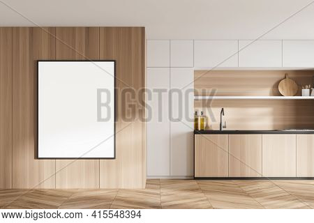 Bright Cosy Kitchen Room Interior With Empty White Poster On The Wall, Oak Wooden Parquet Floor, Ele