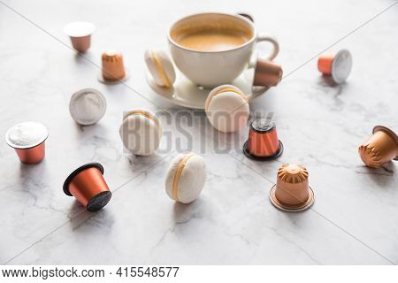 Cup Of Espresso, Black Coffee Served With Pods And Capsules On Marble Table.collection Of Espresso C