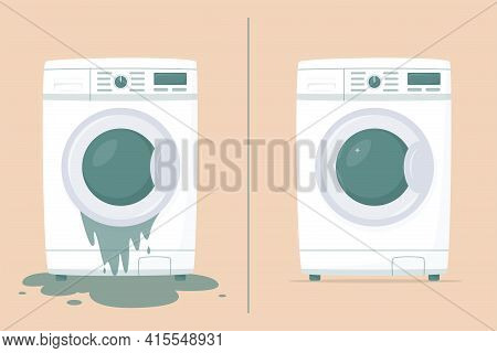 Washing Machine In Flat Style. Broken Washing Machine With Water On Floor. Front View, Close-up. Hou