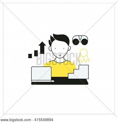 Workaholic Flat Icon.improving Career Prospects. Increase Productivity. Work Done Reward. Man At Lap